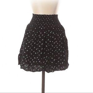 Mossimo Boho Smocked Waist Black Print Mini Skirt